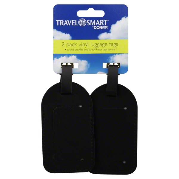 Black Deluxe Luggage Tag, 2 Pack, Conair, TS02VB