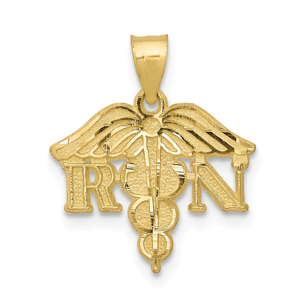 10k Yellow Gold Solid Registered Nurse Pendant