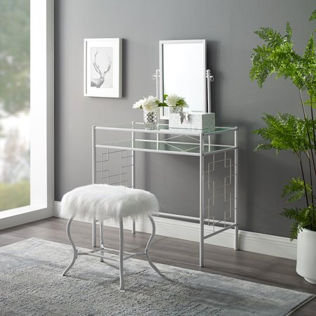 Mainstays Square Geo Metal Vanity with Mirror and Faux Fur Stool ()