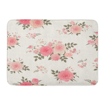 LADDKE Pink Flower Floral Bouquets of Roses Vintage for Shabby Chic Pattern Green Doormat Floor Rug Bath Mat 30x18 inch ()