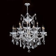 "Worldwide Lighting W83006c27 Maria Theresa 13 Light 2 Tier 27"" Chrome Chandelier - Chrome"