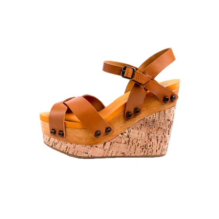 0b9af6212a0 Flogg - Flogg Women s Lexi Platform Wedges Brown Leather Wood Cork Foam 6 M  - Walmart.com