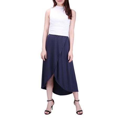 HDE Womens High Low Skirt Wrap Style Midi Maxi Hi Low Open Casual Jersey Skirt (Navy, 2X)