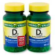 Spring Valley Vitamin D3 Softgels, 25mcg, 1,000 IU, 100 Count, 2 Pack