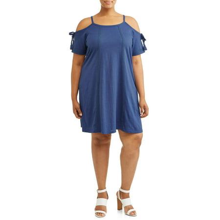 Women's Plus Size Tie Sleeve Cold Shoulder Dress with Lace Trim](Medieval Dress Plus Size)