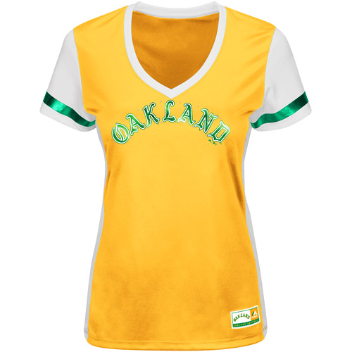 Oakland Athletics Majestic Women's Cooperstown Collection Curveball Babe T-Shirt - Yellow
