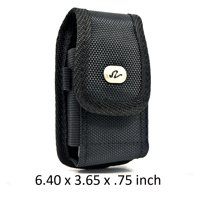 Large Size Heavy Duty Vertical Rugged Nylon Canvas Carrying Case with Metal Belt Clip & Loop For Google Pixel 2 XL Devices - (Fits With Otterbox Defender, Commuter, LifeProof Cover On It)