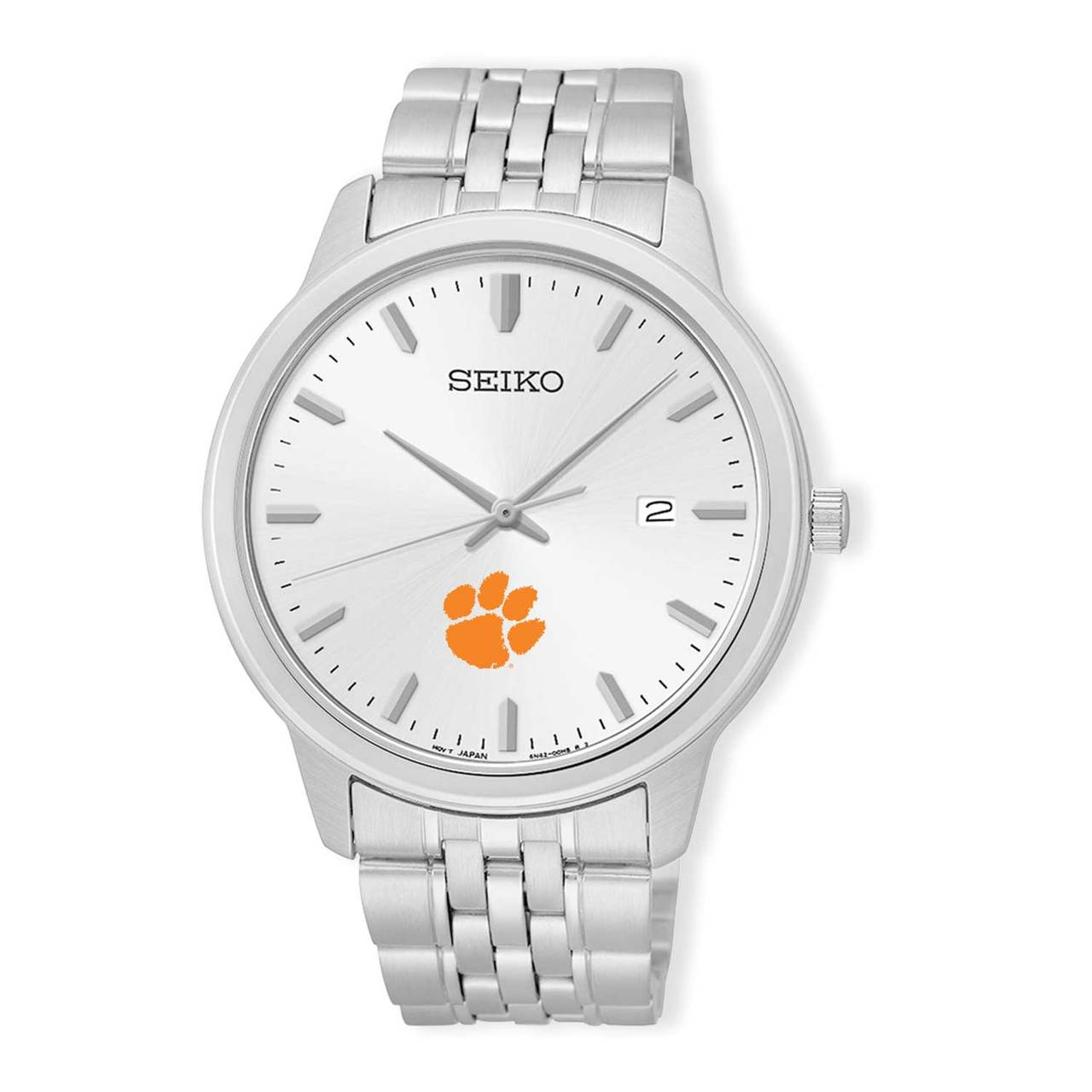 Clemson Tigers Seiko Men's Analog  Quartz Silver Tone Dial Stainless Steel Watch