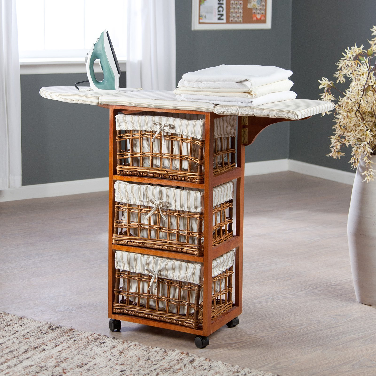 & Showtime Wood Wicker Ironing Board Center with Baskets - Walmart.com