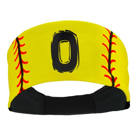 Player ID Softball Stitch Headband (Yellow, #0) - - Sweet 16 Headband