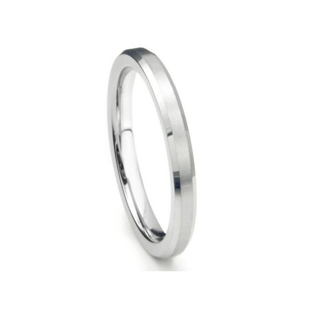 3MM Sterling Silver Brush Finish Beveled Tarnish Resistant Comfort Fit Wedding Band Ring Sz 8.5 3mm Comfort Fit Band