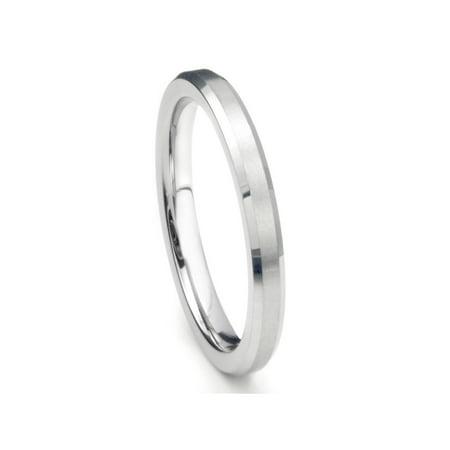 Finished Comfort Fit Wedding Band (3MM Sterling Silver Brush Finish Beveled Tarnish Resistant Comfort Fit Wedding Band Ring Sz 8.5)