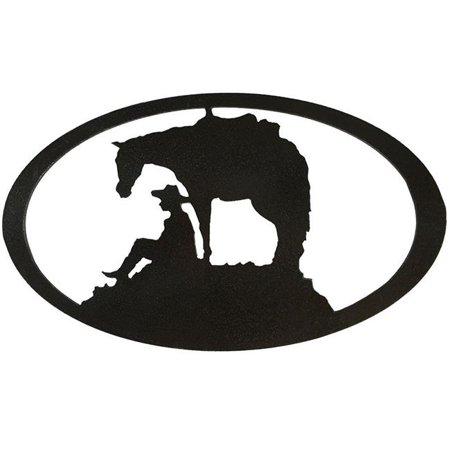 Horse Metal Art - Horse & Cowboy Oval Metal Wall Art - Hammered Black