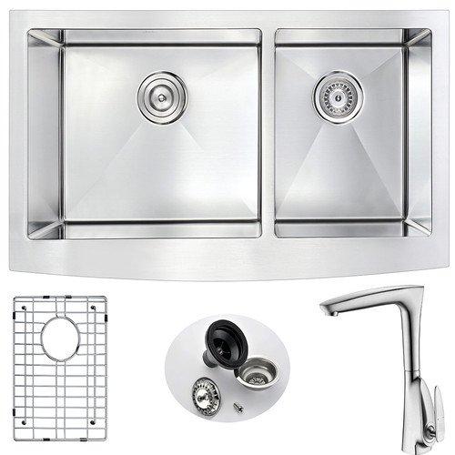 Anzzi Elysian 36 X 21 Double Bowl Farmhouse Kitchen Sink With Faucet Walmart Com Walmart Com