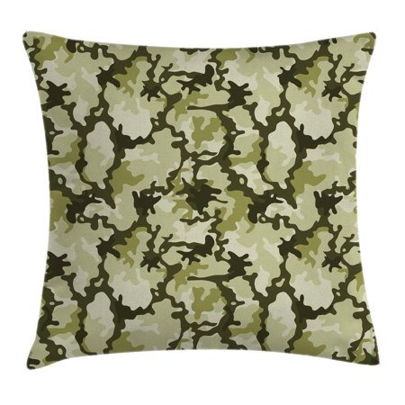 Camo Throw Pillow Cushion Cover, Pattern in Green Shades Army Background Woodland Wild Nature, Decorative Square Accent Pillow Case, 20 X 20 Inches, Light Green Dark Green Pale Green, by Ambesonne