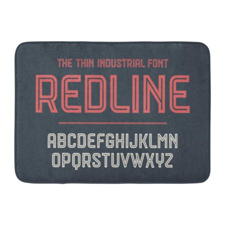 GODPOK Alphabet and Red Line Bold Regular and Medium Uppercase Letters Strong Industrial Inline for Creative Rug Doormat Bath Mat 23.6x15.7 inch