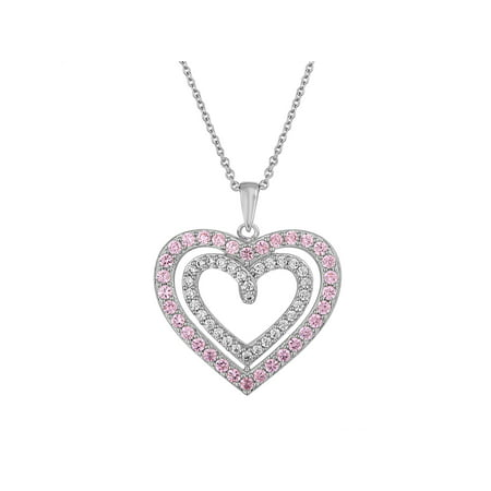 Sterling Silver Plated Simulated Pink Sapphire with CZ Accents Heart Pendant, 18