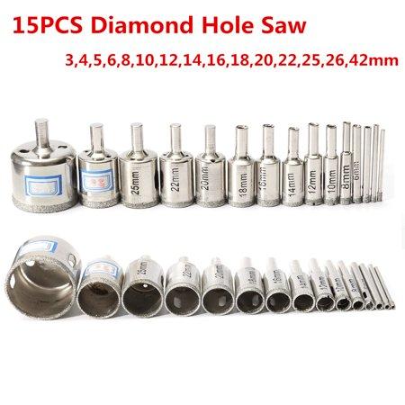 (Diamond Coated Core Hole Saw Drill Bit Set, 15 Pcs 3mm-42mm Diamond Holesaw Drill Bit Hole Saw Tile Ceramic Glass Porcelain Marble Drill Bit)