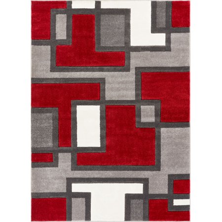 Well Woven Ruby Imagination Squares Modern Contemporary Red Geometric Blocks 6'7