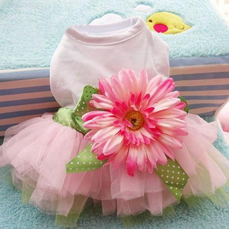 Spring Summer Pet Dog Dress Clothes With Big Sunflower Cute Princess Skirt Wedding Ball Gown Party Dress Pet Supplies - image 7 de 7