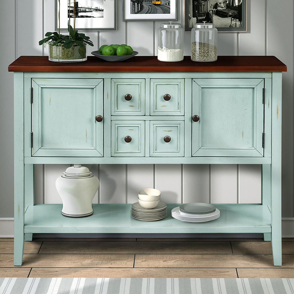 Picture of: Segmart Dining Buffets And Sideboards 46 Buffet Cabinet Sideboard With Four Storage Drawers Two Cabinets And Bottom Shelf Wood Console Table Storage Cabinet For Dining Room Home Furniture L2479 Walmart Com
