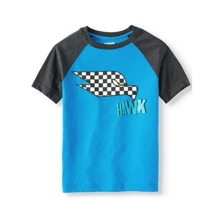 Tony Hawk Short Sleeve Hawk Head Raglan Tee Shirt (Big Boys)