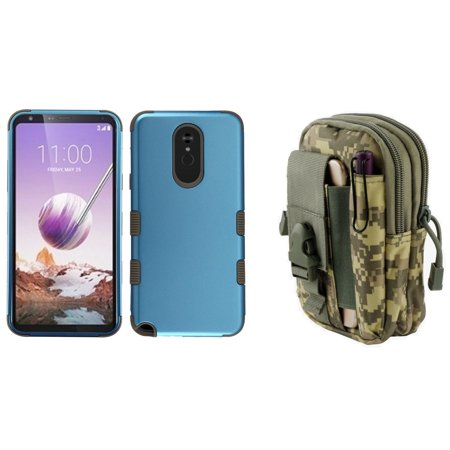 Cobalt Pouch (TUFF Hybrid Series Compatible with LG Stylo 5 Case Military Grade Certified Rubberized Cover (Cobalt/Mocha) with Tactical Travel Pouch (ACU Pixel Camo))