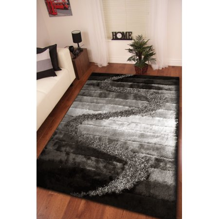 Tufted Zebra Rug (Black with White Zebra Pattern Shag 100 Percent Polyester Hand Tufted & Hand Made Large Area Rug (Exact Size 5 Feet x 7 Feet))