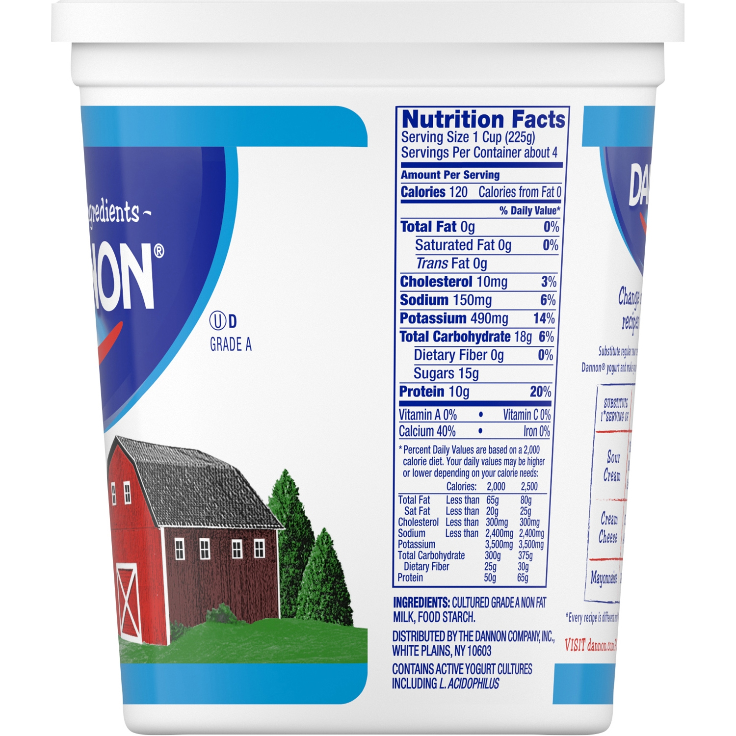Dannon Yogurt Nutrition Label