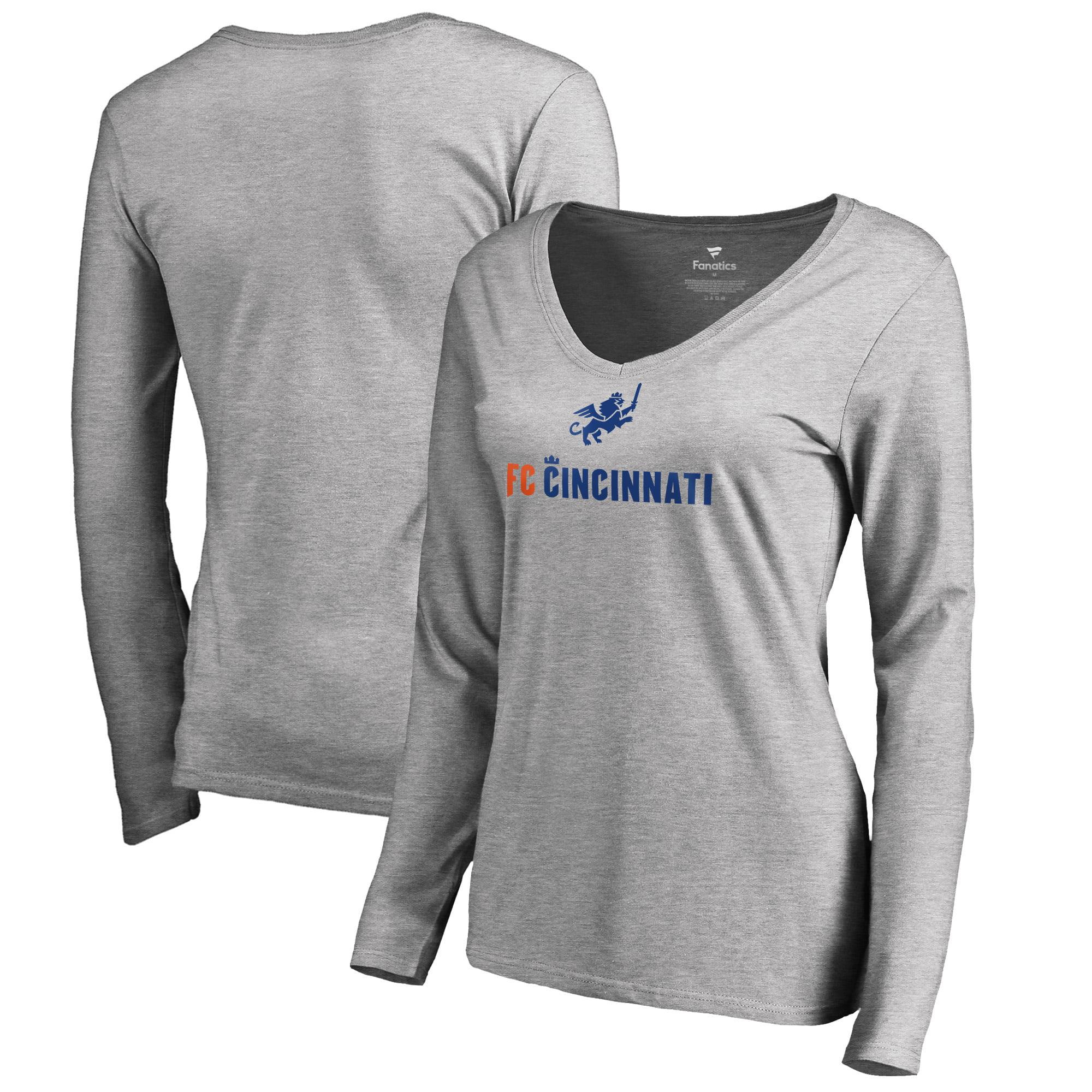 FC Cincinnati Fanatics Branded Women's Victory Arch Long Sleeve V-Neck T-Shirt - Heather Gray