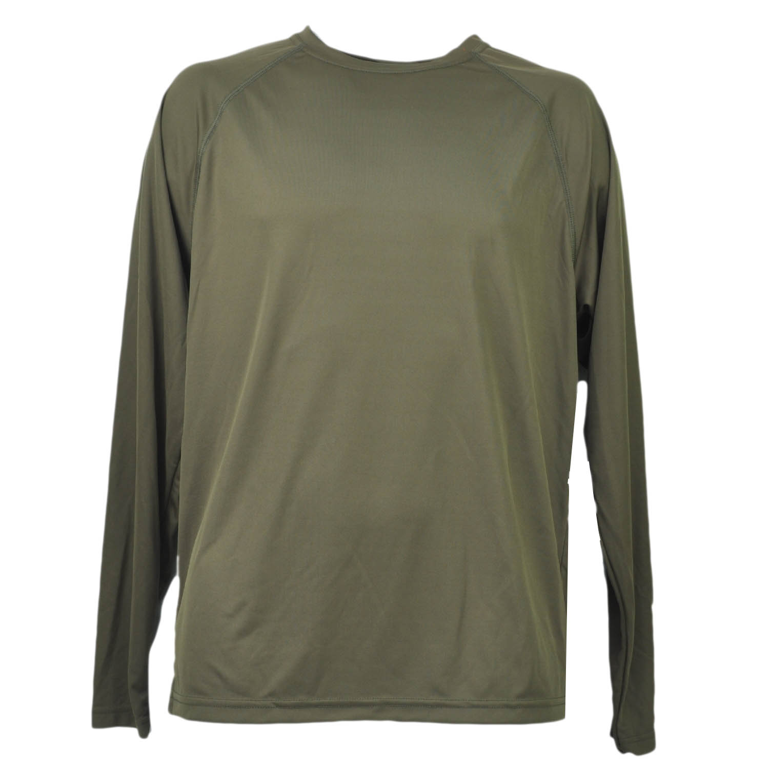 Olive Green Dry Fit Tshirt Tee Mens Adult Long Sleeve Plain Blank Crew Neck XL