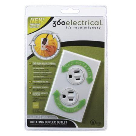360 Electrical 36010-W Rotating Duplex Outlet, White, 15 (360 Electrical)