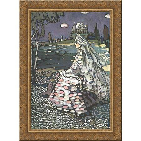 Russian Landscape - Russian beauty in a landscape 24x18 Gold Ornate Wood Framed Canvas Art by Wassily Kandinsky