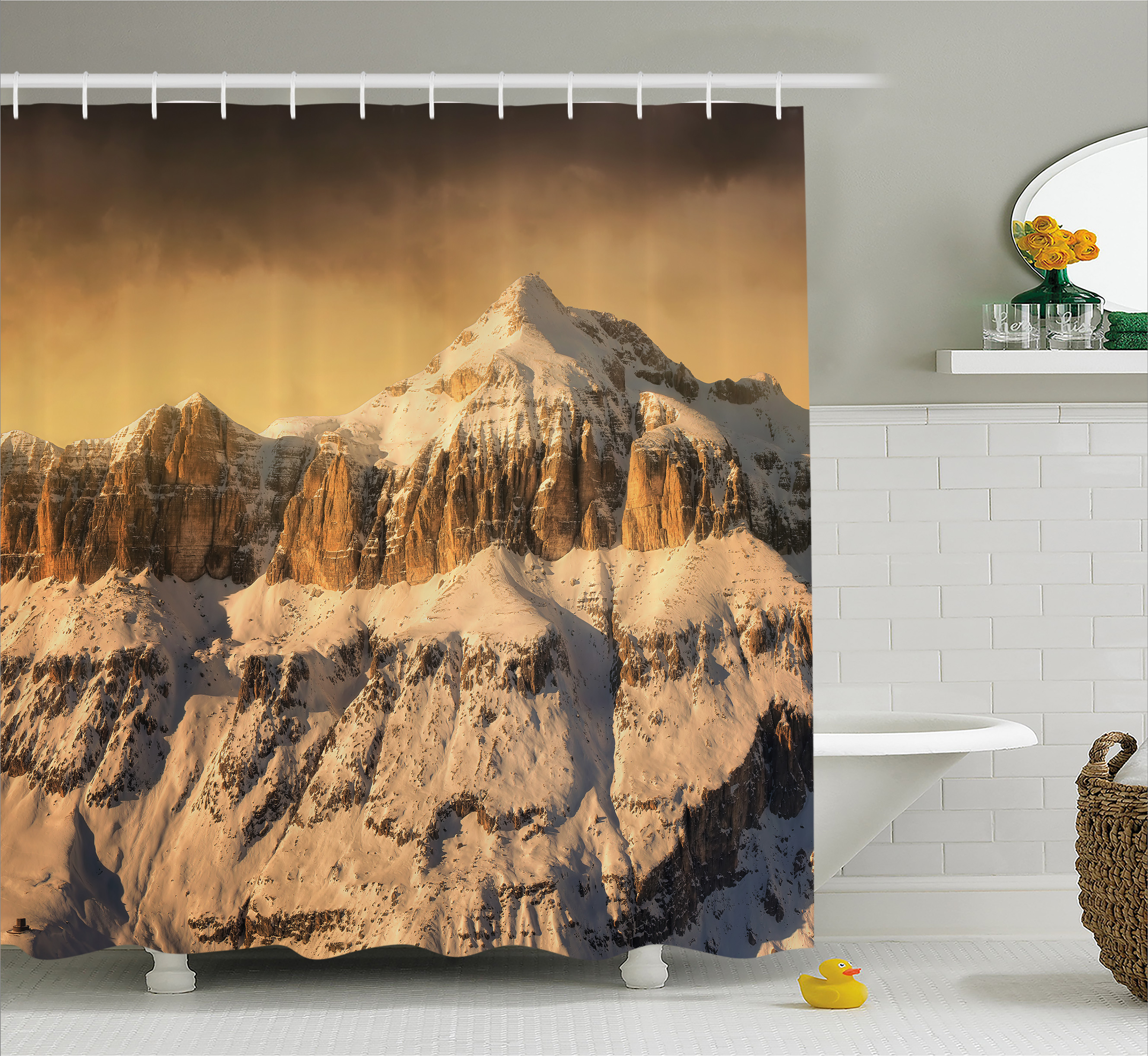 Farmhouse Decor Shower Curtain, Surreal Saturated Photo of Italian Twin Mountain Peaks with Silent Overcast Sky, Fabric Bathroom Set with Hooks, 69W X 70L Inches, Sepia, by Ambesonne