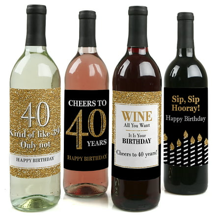 Adult 40th Birthday - Gold - Party Decorations for Women and Men - Wine Bottle Label Stickers - Set of 4 - 40th Birthday Paper