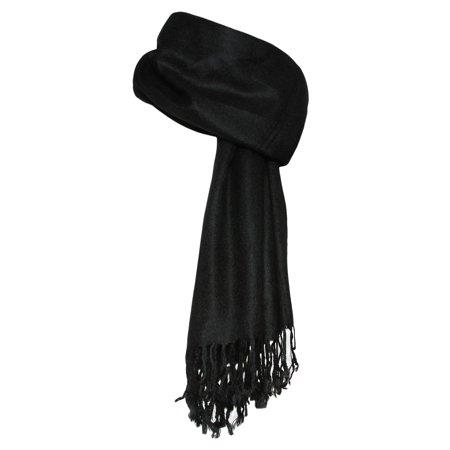 Soft Shawl Wrap Scarf with Fringes, Black (Shawl With Fringe)