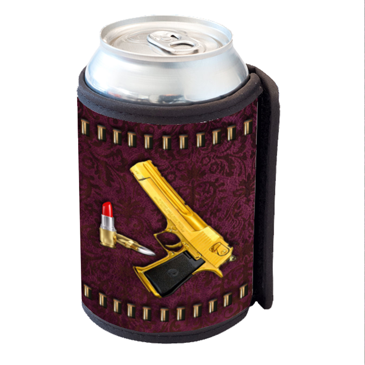 KuzmarK Insulated Drink Can Cooler Hugger - Designer Gold Gun