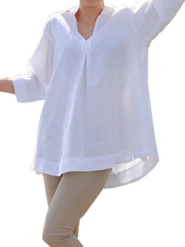 Loose Maternity Blosue V-Neck 3/4 Sleeve Cotton Breathable