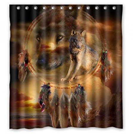 Fashionable Custom Wolf Dream Catcher Shower Curtain 66 X 72 High Quaity Waterproof Polyester Fabric