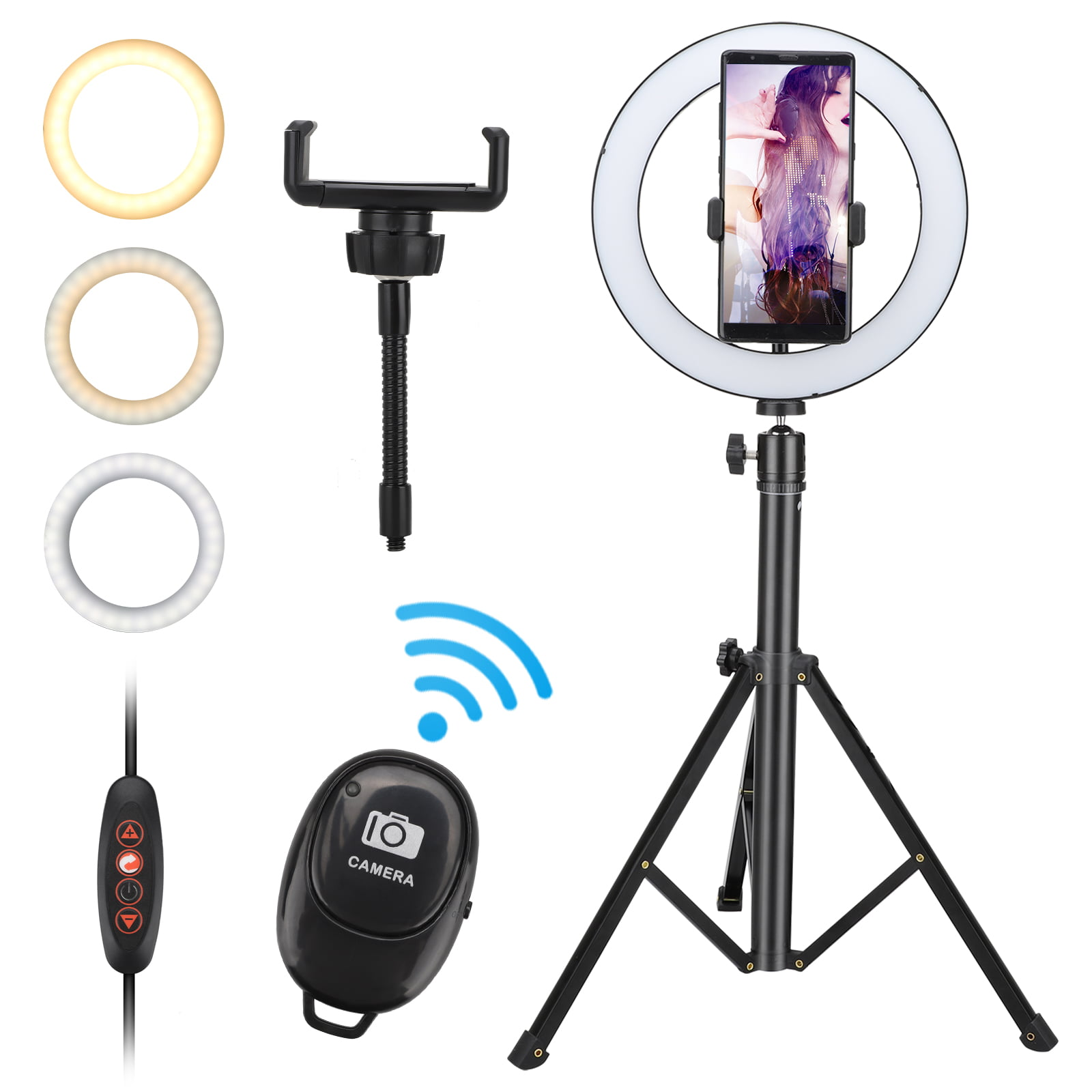 Ring light LED Kit with Bluetooth Remote Control Adjustable Brightness Flash Lamp with Tripod Phone Holder for YouTube Makeup Video