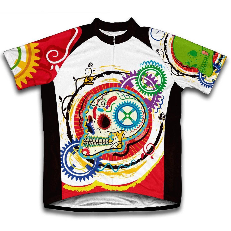 Elegant Skull Microfiber Short-Sleeved Cycling Jersey, Assorted Sizes