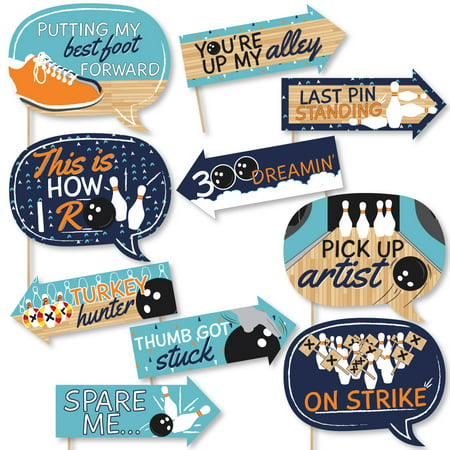 Funny Strike Up the Fun - Bowling - Birthday Party or Baby Shower Photo Booth Props Kit - 10 Piece](Bowling Party Decor)