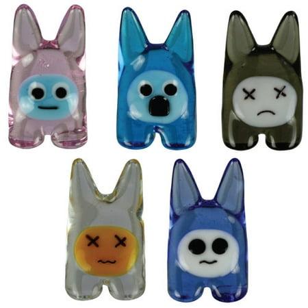 BrainStorm BunEEz Glass World Miniature Glass Figurines, 5-Pack, rEEce/roBBY/daFFy/ziGGy/maDDie
