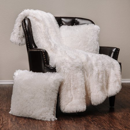 Chanasya 3-Piece Super Soft Shaggy Throw Blanket Pillow Cover Set - Chic Fuzzy Faux Fur Elegant Cozy Fleece Sherpa Throw (50