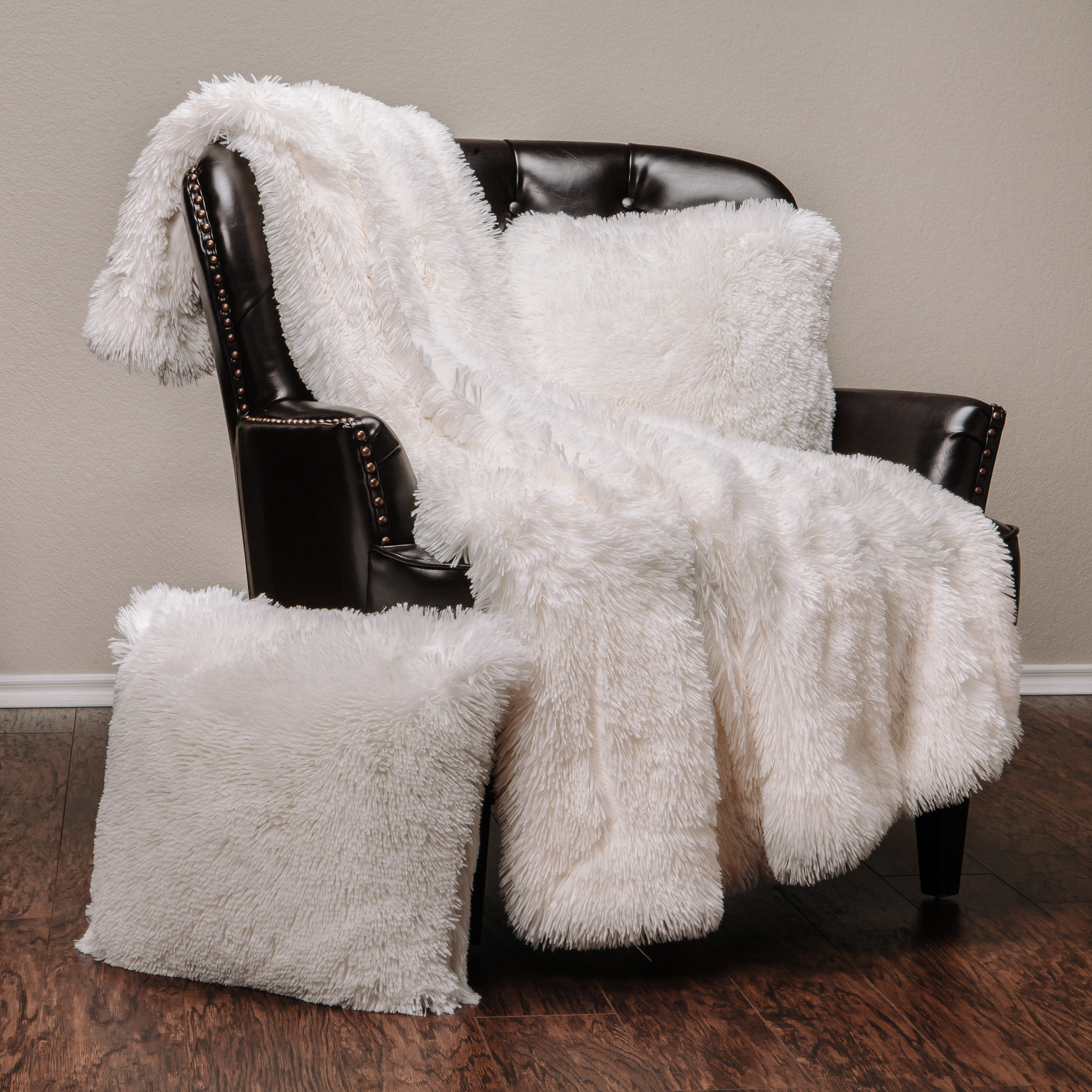"Chanasya 3-Piece Super Soft Shaggy Throw Blanket Pillow Cover Set - Chic Fuzzy Faux Fur Elegant Cozy Fleece Sherpa Throw (50""x65"")& Two Throw Pillow Covers (18""x 18"")- For Bed Couch Chair Sofa - White"
