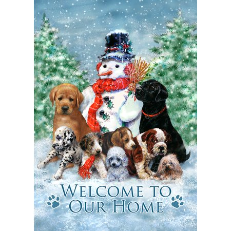 Toland Home Garden Snowman with Pups House Flag