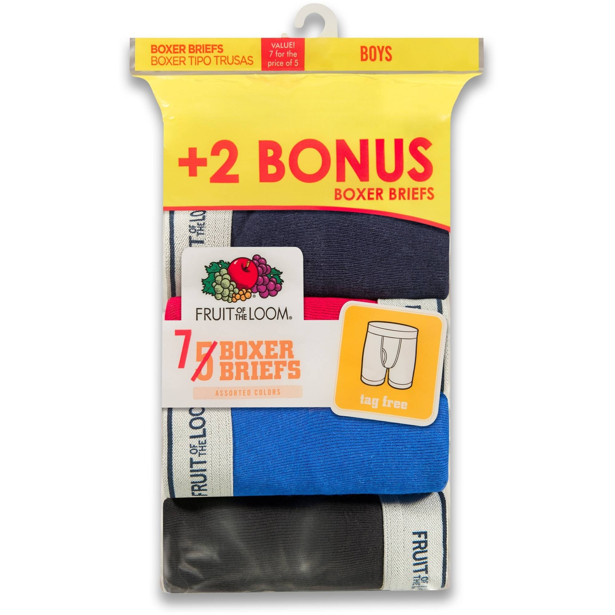 Fruit of the Loom Boys' Assorted Boxer Brief Bonus Pack, 5+2 pack