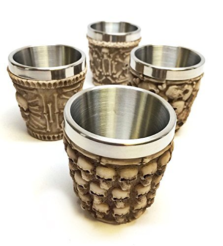 4pc Bellaa Decorative Ossuary Style Skull Skeletal Wine Goblet Bones, Skull Shot Glasses Set of 4