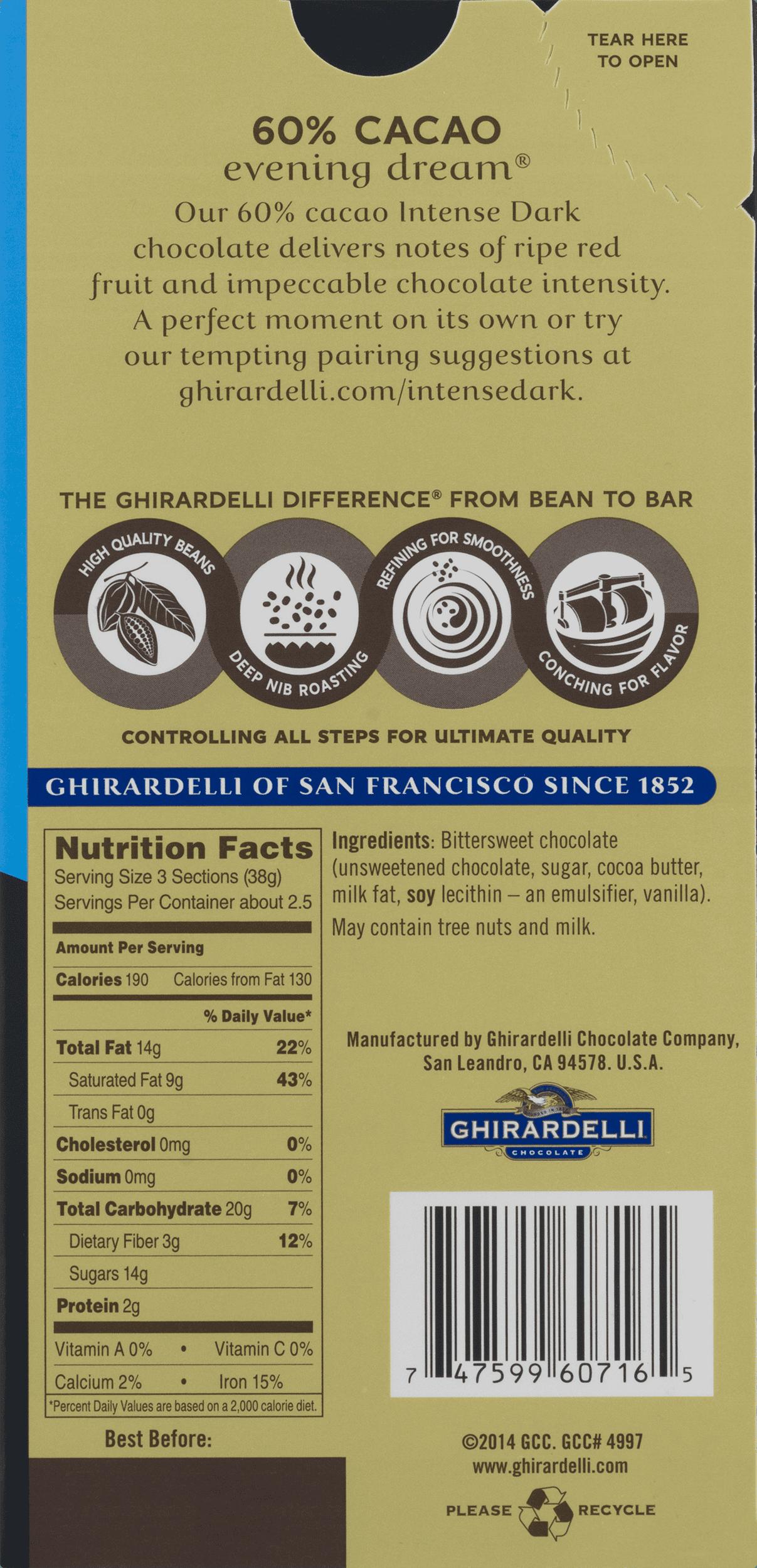 Ghirardelli Intense Dark Chocolate 60% Cacao Evening Dream, 3.5 OZ ...
