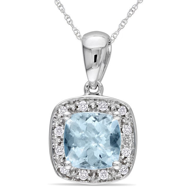 Miadora 10k White Gold Aquamarine and Diamond Necklace (H-I, I2-I3) by Overstock